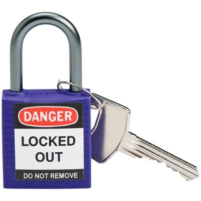 Brady Compact Keyed Different 1 inch Shackle Safety Padlocks - Purple - Part Number - 143164 - 1/Each