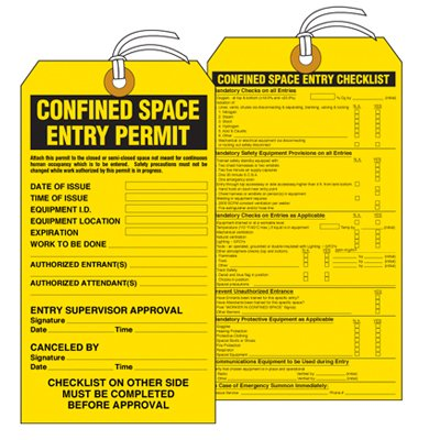 Confined Space Entry Permit - Accident Prevention Tag