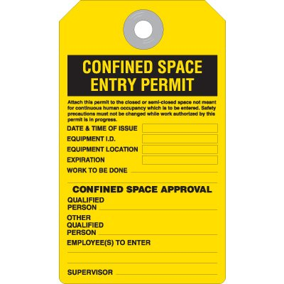 Confined Space Permit - Accident Prevention Heavy Duty Plastic Tag