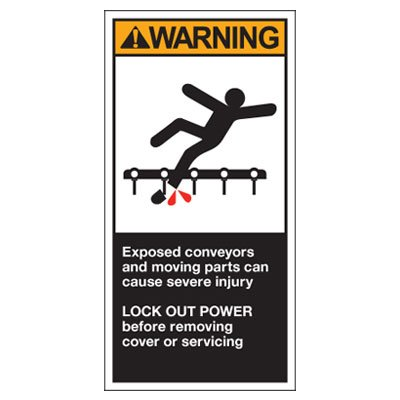 OSHA/ANSI Conveyor Safety Labels - Warning, Exposed Conveyors