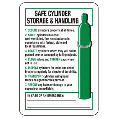 Safe Cylinder Storage Handling - Industrial Cylinder Sign