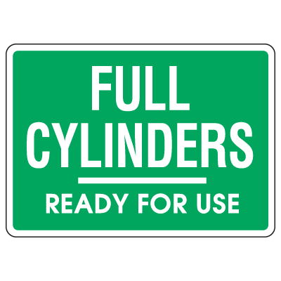 Cylinder Status Signs - Full Cylinders Ready For Use