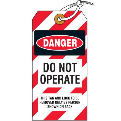 Danger Do Not Operate - Lockout Tag, Cardstock