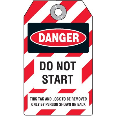 Danger Do Not Start - Heavy Duty Plastic Tag Lockout Tag
