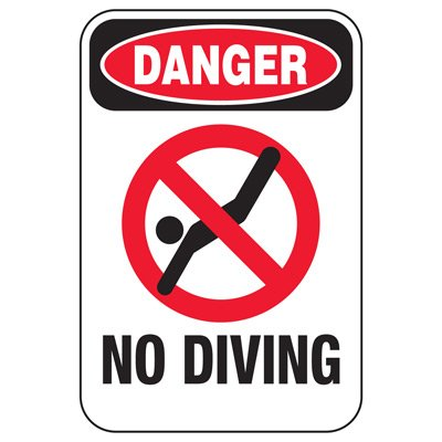 Danger No Diving - Pool Signs