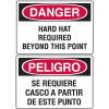 Danger Signs - Bilingual - Hard Hat Required Beyond This Point