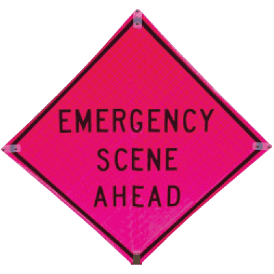 TrafFix Devices Emergency Scene Ahead Deluxe Quick Deploy™ Signs and Stand 25048-SFP-ESA