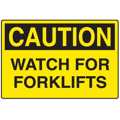 Disposable Plastic Corrugated Signs - Caution Watch For Forklifts
