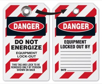 Do Not Energize Equipment - Lockout Tag, Plastic