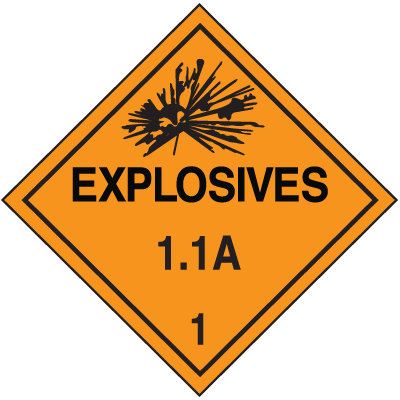 DOT Division 1.1 Explosives Placards