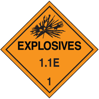 1.1E DOT Explosive Placards