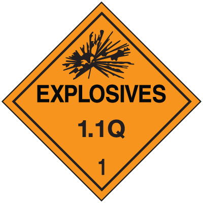 1.1Q DOT Explosive Placards