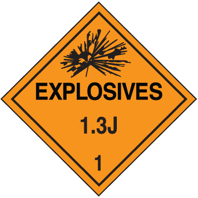 1.3J DOT Explosive Placards