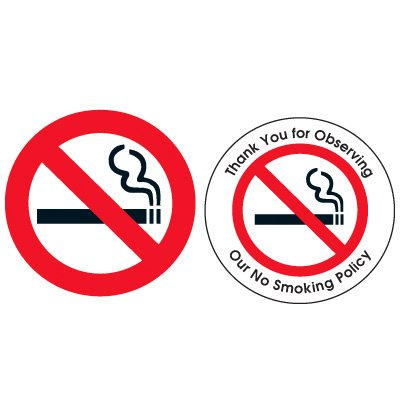 Double-Sided No Smoking Window Signs - (NO SMOKING GRAPHIC)