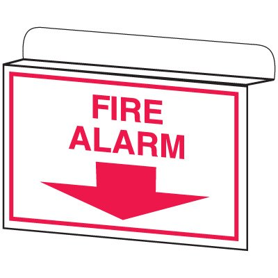Fire Alarm w/ Down Arrow - Drop Ceiling Double-Faced Signs