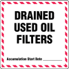 Drum Identification Labels - Drained Used Oil Filters