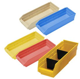 "Durable Plastic Shelf Bins 23-5/8""L x 4-1/8""W x 4""H"