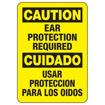 Bilingual Caution Ear Protection Required - Machine Safety Signs