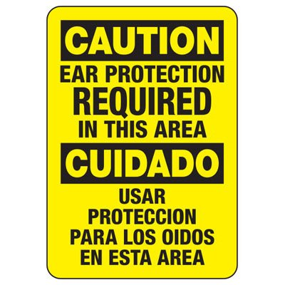 Bilingual Ear Protection Required In This Area - Machine Safety Signs