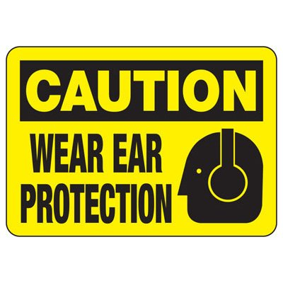 Caution Wear Ear Protection With Graphic - Machine Safety Signs
