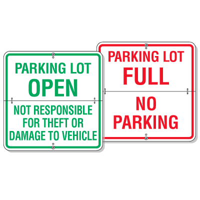 Easy Flip Parking Lot Status Signs- Open/Full
