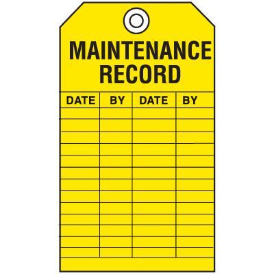 Economy Equipment Inspection Tags - Maintenance
