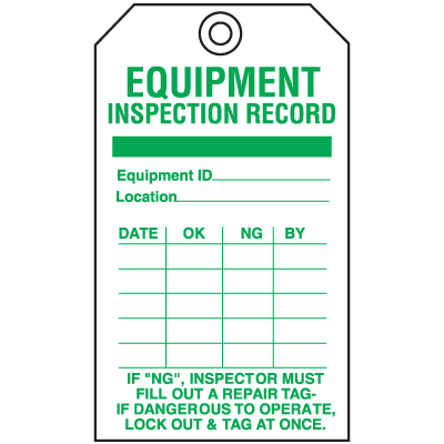 Economy Equipment Inspection Tags - Record