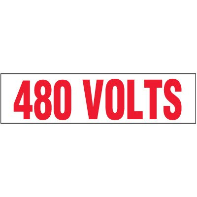 Voltage Warning Labels - 480 Volts
