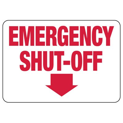 Fire Sprinkler Control Signs - Emergency Shut-Off (Arrow Down)