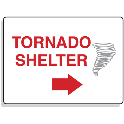 Emergency Signs- Tornado Shelter Arrow Right