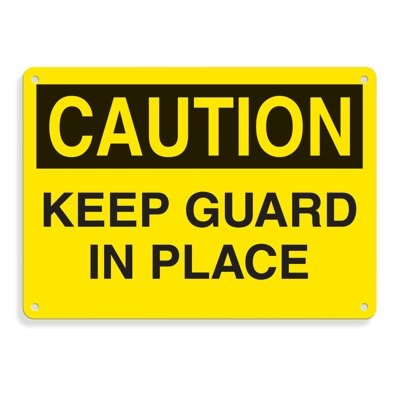Equipment Hazard Mini Safety Signs - Caution Keep Guard in Place