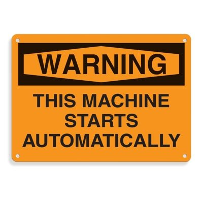 Equipment Hazard Mini Safety Signs - Warning This Machine Starts Automatically