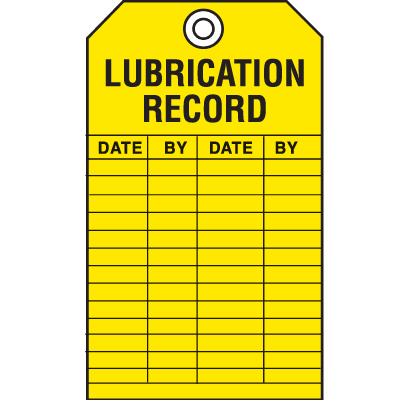 Safety Inspection Tags - Lubrication Record