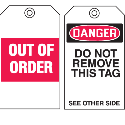 Safety Inspection Tags - Danger/Out of Order