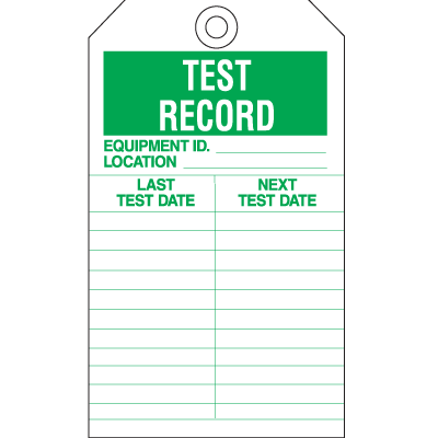 Safety Inspection Tags - Test Record