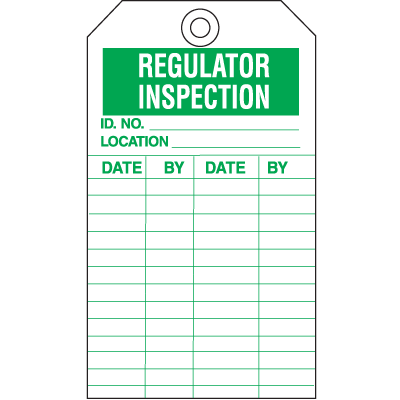 Safety Inspection Tags - Regulator Inspection