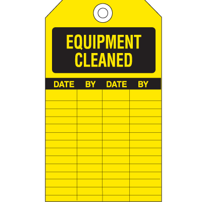 Equipment Inspection Tags - Equipment Cleaned Record