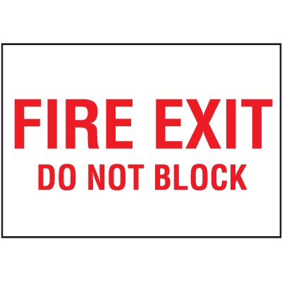 Exit & Fire Equipment Signs - Fire Exit Do Not Block