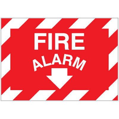 Fire Alarm Signs with Downward Facing Arrow