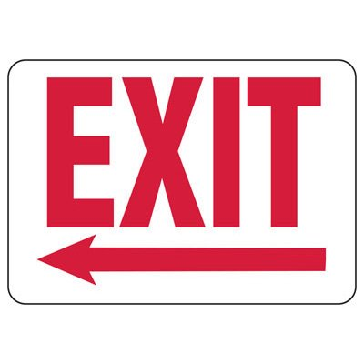 Exit Sign with Left Arrow Below
