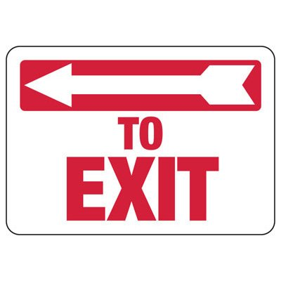 To Exit (Left Arrow) - Industrial Exit Signs