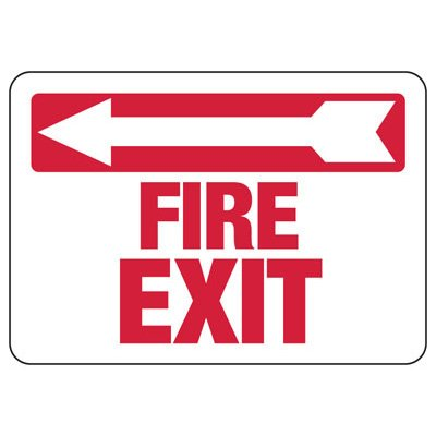 Fire Exit (Left Arrow) - Industrial Exit Signs