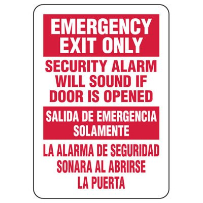 Emergency Exit Only - Bilingual Industrial Exit Signs