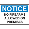 Extra Large Restricted Area Signs - Notice No Firearms Allowed On Premises