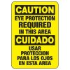 Bilingual Caution Eye Protection Required In This Area - PPE Sign
