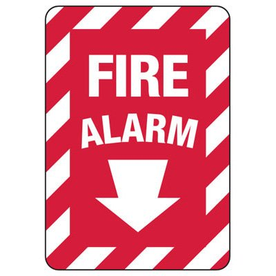 Fire Alarm Arrow Down - Fire Safety Sign