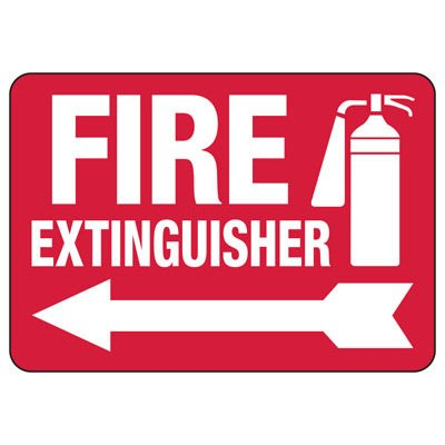 Fire Extinguisher W/ Arrow Graphic - Fire Safety Sign