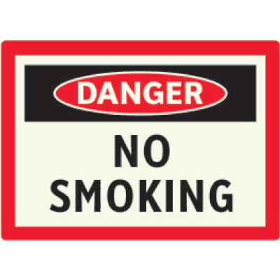 Danger No Smoking - Photoluminescent Sign