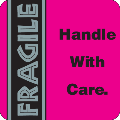 Fragile Handle With Care Fluorescent Attention Getting Labels