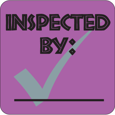 Inspected By: Fluorescent Attention Getting Labels